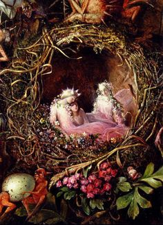 ≍ Nature's Fairy Nymphs ≍ magical elves, sprites, pixies and winged woodland faeries -John Anster Fitzgerald - Fairies in a Bird's Nest detail of larger painting
