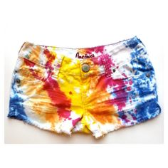 Vintage Tie Dye Colorful Low Rise Distressed Cut Off Denim Jean Shorts ($39) ❤ liked on Polyvore
