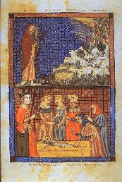 Sarajevo Haggadah is a 14th century illuminated manuscript consisting of 34 full-page miniatures, an illuminated Haggadah text, and hymns and Torah readings for the Passover week. The miniatures display a variety of subjects, from the creation of the world, to Moses blessing the Israelites, to illustrations of the Temple, and the interior of a Spanish synagogue. It is one of the oldest Sephardic Haggadahs in the world, originating in Barcelona around 1350.