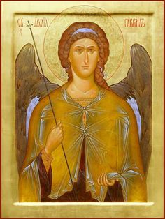 """St. archangel Gabriel. 2009. Wood, gesso, tempera, gilding. 19,69""""x 14,57"""". Church of the Most Holy Theotokos """"Inexhaustible Cup"""" in Brooklyn, NYC (USA)."""