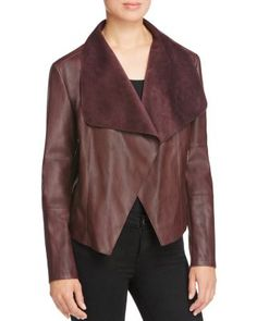 Bagatelle Draped Faux Leather Jacket | Bloomingdale's