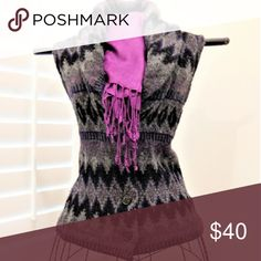 Wool  Vest 100 % Lambswool.   VERY  WARM!   Classic  Southwestern design  in grays,  black and purple.   Shawl collar,  button front and blanket  stitched hem. Ralph Lauren Sweaters