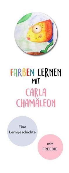 Farben lernen mit Carla Chamäleon. Eine Lerngeschichte für Kleinkinder in Kita und Kindergarten. Und ein Freebie als kostenloses Printable als Beschäftigung und zum Ausmalen. Viel Spaß! :)