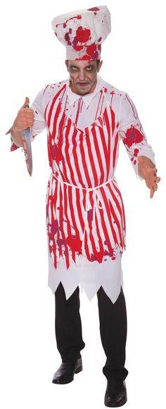 BLOODY Chef Set-Cappello Grembiule /& Maniche-per Adulti Halloween Fantasia Abito Orrore