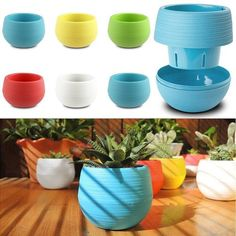 Round modern plastic multipurpose flower pots include water catch tray that fits…