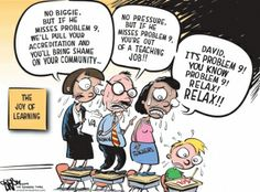 Political Cartoon: This cartoon's author is communicating that everyone in and out of the education system are putting such an excessive amount of pressure on the students to do well on the high stakes tests. What has motivated the author is the current state of the education system, which schools quality is dependent on the children's test's scores. The children are being so negatively affected by this, by not wanting to learn more, because of the stress of the tests upon them.
