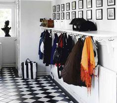 Stylish Storage: 10 Best Ways to Organize Your Entryway (hooks on underside of a shelf! Mudroom Organization, Room, Mudroom, House, Hallway Coat Rack, Apartment Entryway, Stylish Storage, New Homes, Trendy Apartment