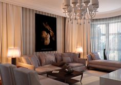 contemporary dining room adjacent living