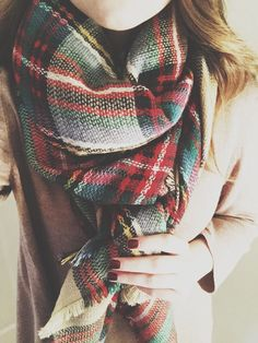 Gorgeous Maroon polish with plaid scarf and tan sweater - Perfect for Fall <3