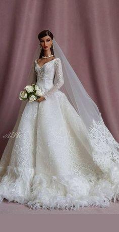 Barbie Bridal, Barbie Wedding Dress, Wedding Doll, Barbie Dress, Barbie Clothes, Wedding Bride, Pretty Dolls, Beautiful Dolls, Bridal Gowns
