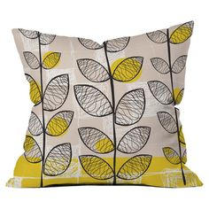 Woven pillow with a leafy vine motif. Made in The USA.   Product: PillowConstruction Material: Woven polyester ...