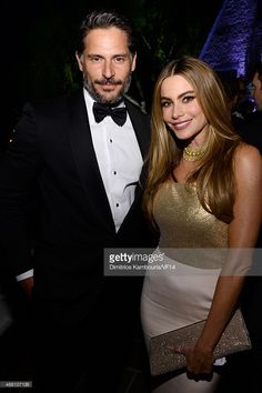 Actors Joe Manganiello (L) and Sofia Vergara attend the Bloomberg & Vanity Fair cocktail reception following the 2014 WHCA Dinner at Villa Firenze on May 3, 2014 in Washington, DC.