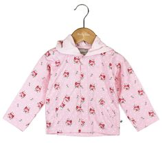 Ducky Beau - Nette Strickjacke mit Blumendruck, Kapuze und Druckverschluss .  Marke: Ducky Beau Kategorie: WESTE Farbe: Baby Pink Material: 95% Baumwolle / 5% Elasthan