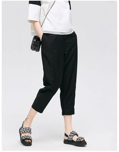 Casual Harem pants, made with Spandex from VING. Harem Pants, Trousers, Black Cropped Pants, Jean Skirt, Jeans Style, Branding Design, Capri Pants, Clothes For Women, Trending Outfits