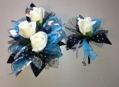 Turquoise and Black Prom Corsage www.letsdancegarters.com