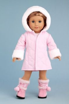DreamWorld Collections Cotton Candy - Pink parka with hood, short ivory dress…