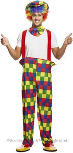 M-L-XL-Circus-Clown-Costume-Hooped-Trousers-Bow-Tie-Hat-Mens-Fancy-Dress-Outfit