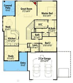 Extend kitchen and delete patio, add basement and back deck and we have a winner! 2 Bed Bungalow with Rear Covered Patio - floor plan - Main Level House Plan With Loft, Small House Plans, Ideal House, Bungalow House Plans, House Floor Plans, Bungalow Exterior, Craftsman Exterior, Architectural Design House Plans, Architecture Design
