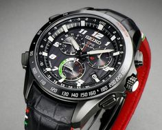 Seiko Astron Solar GPS Chronograph limited edition designed by Giorgetto Giugiaro with Italian Tricolore accents.