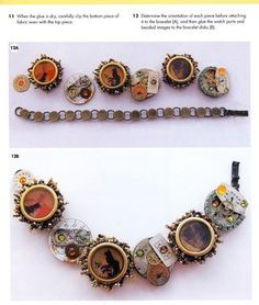 How to put images in jewelry circles. Neat Steam Punk Jewelry with photos.