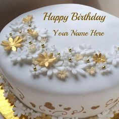 Golden Birthday Celebration Fruit Cake With Your Name