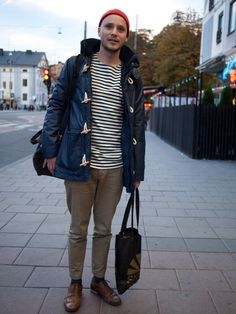 Working the classic stripe tee with a duffle and mixing it up with brogues #BurtonStreetStyle