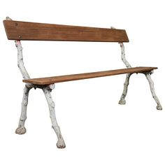 19th Century French Iron and Mahogany Garden Bench 1