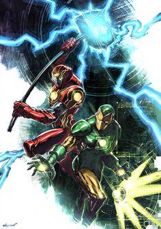 Iron Man: Iron Hammer and Iron Lantern Marvel Comics Art, Marvel Vs, Marvel And Dc Crossover, Iron Man Art, Arte Nerd, Super Anime, Iron Man Wallpaper, Superhero Characters, Marvel And Dc Characters
