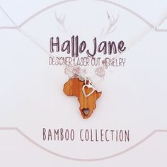 Africa bamboo necklace with silver heart by HALLO JANE