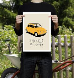 Fiat 500 poster illustration  affiche  print   by ShufflePrints