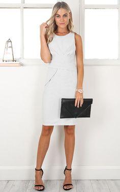 Showpo Hit The Books dress in white stripe - 14 (XL) Longer Dresses