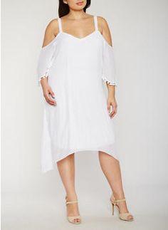 Plus Size Gauzy Cold Shoulder Dress with Pom Pom Trim - 0390056124282