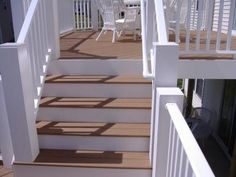 Deck Stairs with White Railing: I have built over 500 decks through the years. Very profitable when cedar, treated, and red woods where popular. In recent years with composite decking, Front Stairs, Deck Stairs, Front Deck, Cedar Deck Stain, Timber Stair, White Deck, Deck Colors, Deck Makeover, Outdoor Rooms