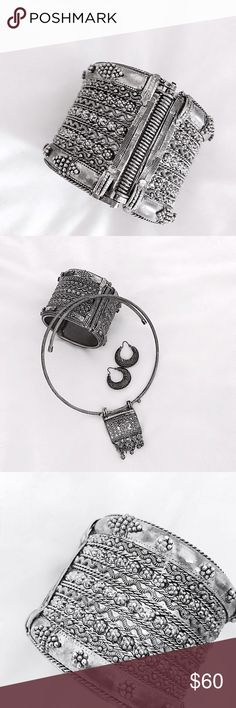 """Aged Kenyan Silver Cuff Vintage silver hinged cuff which i believe was handmade from Kenya (not completely sure, but it's what I was told!) Beautifully tarnished, intricately detailed and tooled- an amazing piece to make yours and to add to your everyday look. Can be purchased with the other vintage jewelry shown in photo 2, or on its own in this listing. 2.5""""inside diameter, 2""""height- approximate value $150. Vintage Jewelry Bracelets"""