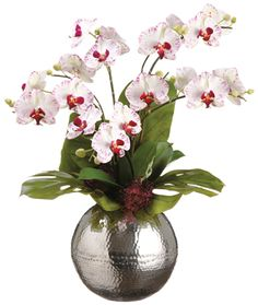 51 best allstate floral images on pinterest in 2018 fashion white phalaenopsis silk orchid arrangement with silver vase this beautiful white phalaenopsis silk orchid arrangement is displayed in an ornate silver mightylinksfo