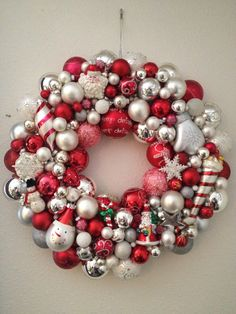 Red and silver glass ornament wreath...made this one for Jamie.