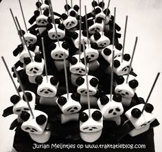 Kindertraktaties: Panda traktatie Zwartwit Marshmallow trekdrop