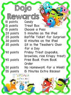 Classroom Rewards Classroom rewards, Class dojo, Dojo