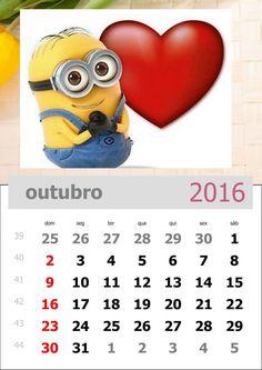 calendário dos minions mês de outubro de 2016