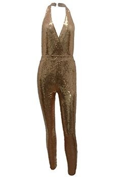 83f7bc1a10 BEQUEEN Womens Fashion V neck Halter Sleeveless Backless Sequin Party  Jumpsuit Gold L -- Amazon most trusted e-retailer  SexyJumpsuit