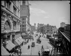 """Circa """"Herald Square, New York."""" Times Square in the distance, and the New York Times building going up at center. Other landmarks include Macy's, the New York Herald newspaper building, Sixth Avenue elevated tracks and Hotel Astor. New York Pictures, Old Pictures, Old Photos, Vintage Photos, Vintage Photographs, New York Square, Herald Square, Vintage New York, City Streets"""