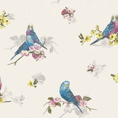 Statement Budgie Blue & Grey Floral Birds Wallpaper | Departments | DIY at B&Q