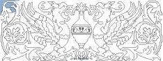 "Assisi Embroidery Designs | Assisi embroidery design ""beasts around vase"""