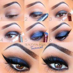Maquillaje de ojos marrones también ahumado en azul y para la noche