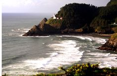 The Heceta Head Lighthouse is located along the Oregon Coast. Built in it is a 56 foot tall lighthouse. A magnificent view! Oregon Trail, Oregon Coast, Crater Lake National Park, National Parks, Pacific Northwest, North West, Lighthouse, Tours, Dreams