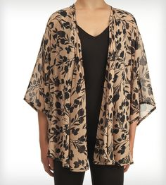 Floral Black & Nude Kimono Top | Women's Clothing | Jaleh | Scoutmob Shoppe | Product Detail