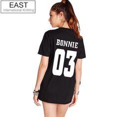 EAST KNITTING H1056 Valentine Shirts Women/Men Bonnie Bonnie 03 CLYDE 03 Couples Leisure Cotton Short Sleeve T-shirt