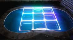 MOD NC-200PESP. Modules specially designed to cover pools, but can be used anytime. Fully transparent, with support frames and sills in aluminum, 12 mm tempered glass, LED perimeter lighting, automatic programs, without control. intelligent LED lighting 27 CH DMX. #led dance floor #lighted floor #smart led #party led #dancefloor light #led floor #led events #pistas iluminadas #pista de baile led #pistas luminosas #ness pistas #ness technology Led Dance, Light Led, Flooring, Canning, Frame, Glass, Design, Dance Floors, Function Hall