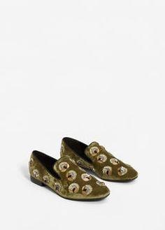 Appliqués velvet loafers