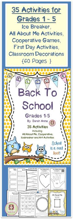 Back to School Activity Bundle 60 Pages of ice breaker, cooperative games, first day of school jitters and All About Me activities. Download the free preview to see a description of all activities. 60 Pages divided into 5 sections: 1-All About Me Booklet, 2- First Day Activities, 3-Icebreaker and cooperative games, 4-Art Activities that will decorate your classroom & 5Just for fun. #firstday #backtoschool #classroomdecor #allaboutme #icebreakers #cooperativegames #firstdayjitters #kissing...